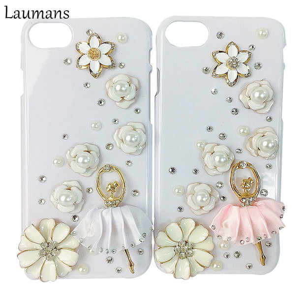 Lastest Latest Rhinestone Diamond White Dancing Girl Protection Back Cover Case For Iphone 4s 5 5s 5c SE 6s 6 7 8plus DIY Flower