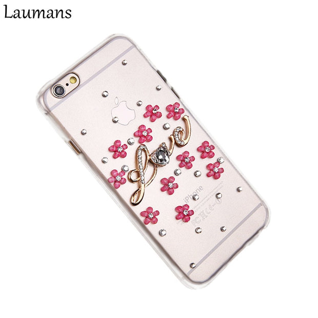 Lastest Transparent Case For Iphone X Diamond Flower LOVE Quotes Mobile Cellphone Back Cover For 4 5 5C 5s 6 6s Plus 7 8 Plus