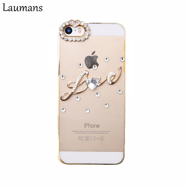 Lastest Diy Handmade LOVE QUOTES Hard Transparent Case For Iphone X 5 5s 6 6s Plus 7plus 8 Bling Diamond Phone Back Cover Shell