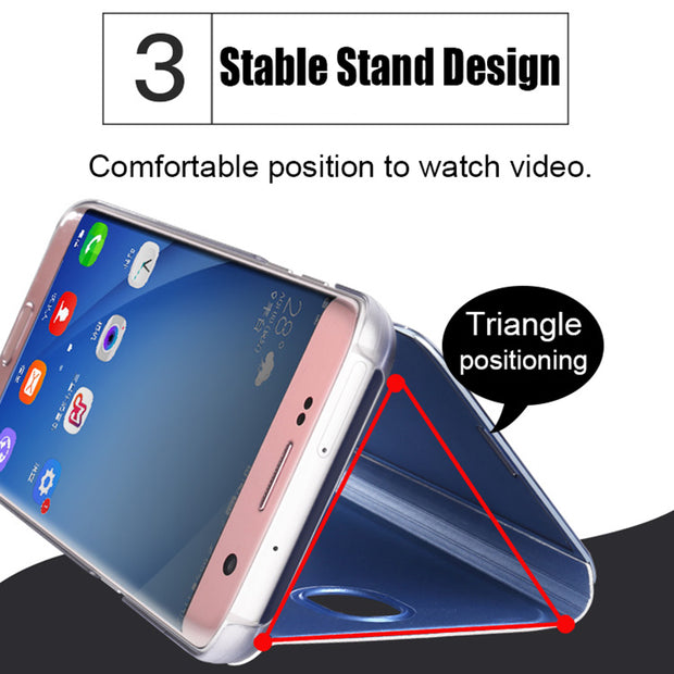 Leanonus Smart Case For Samsung Galaxy J330 J530 J730 EU J3 J5 J7 2017 European Smart Clear View Flip Stand Cover Phone Bag
