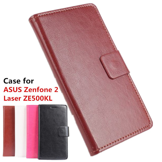 Leather Case For ASUS Zenfone 2 Laser ZE500KL 5.0 Inch Flip Cover Case With Card Slot Housing For Zenfone2 Laser Phone Cases