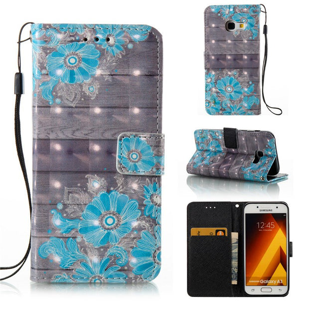 Leather Case For Samsung A3 2017 A320F 3D Effect Wallet Card Slots Flip Leather Case Cover For Samsung Galaxy A3 2017 + Lanyard