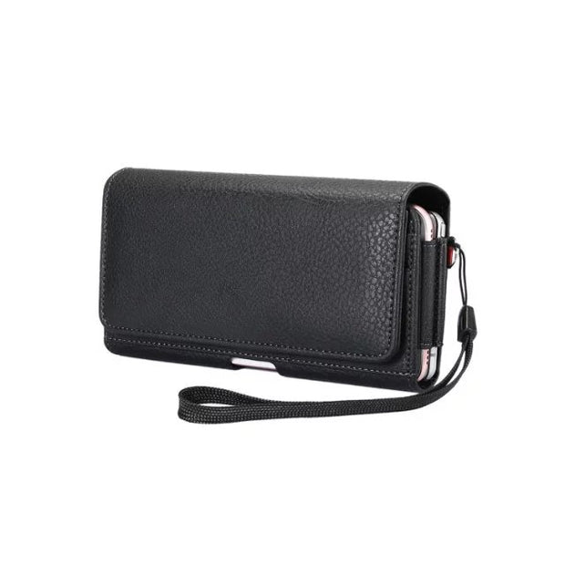 Leather Waist Pouch Case Cover Bag 2 Pockets Holster For Asus Zenfone 4 Max Plus ZC550TL / Ulefone T1 / Vernee Thor Plus