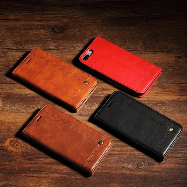 Leisure Retro Noble Flip Leather Case For IPhone On 6 Plus 6s Wallet Stand Cover Luxury Coque Holster For IPhone 6S Plus Bags