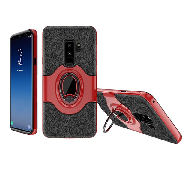 Litchi Tpu Silicone Cases For Samsung S9 Case Funda Hoesje Ring Kickstand Plastic Cover For Galaxy S9+ Plus Coque Etui Kryt Tok
