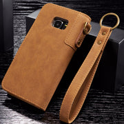 [Long Steven]For Samsung S7 Case Cowhide Leather Geometric Wallet Filp Cover Strap Pocket Kickstand For Samsung Galaxy S7 Case