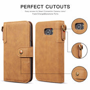 [Long Steven]For Samsung S7 Edge Case Cowhide Leather Wallet Filp Cover Strap Pocket Kickstand For Samsung Galaxy S7 Edge Case