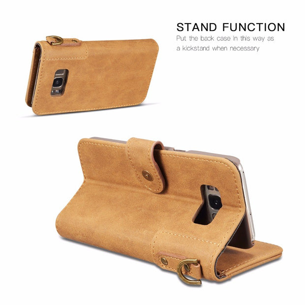 [Long Steven]For Samsung S8 Plus Case Cowhide Leather Wallet Filp Cover Strap Pocket Kickstand For Samsung Galaxy S8 Plus Case
