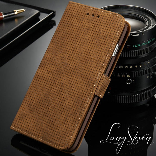 [Long Steven]For Samsung S8 Plus Case Retro Mesh Leather Wallet Cover With Card Pocket For Samsung Galaxy S8 Plus Case Filp Case