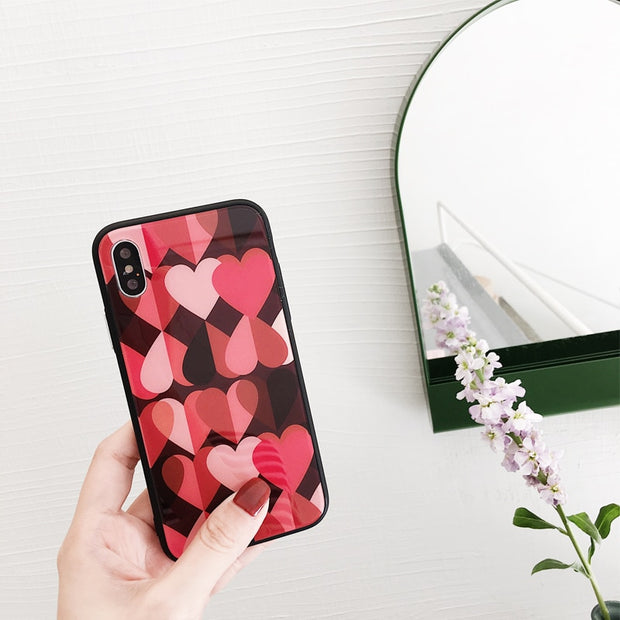 Love Heart Phone Case For IPhone 7 Case Glass Luxury Mirror For IPhone 8 X 6 6s Plus 7Plus 8Plus Glass Case Cute Couple Cover PC