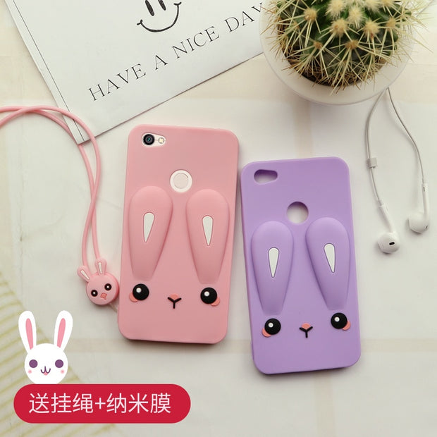 Lovely Carney Rabbit Cover For Xiaomi Redmi Note5a Case Soft Silicone Mobile Phone Shell For Redmi Note 5A Pro Cases Long Rope