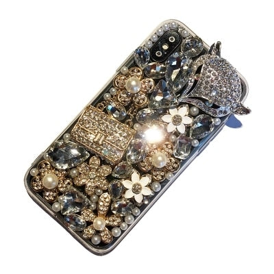 Luxurious Crystal Bling Diamond Fox Phone Cases For IPhone X XR XS MAX 6 6S 6Plus 7 8 Plus 5S Glitter Rhinestone Bag Soft Cover