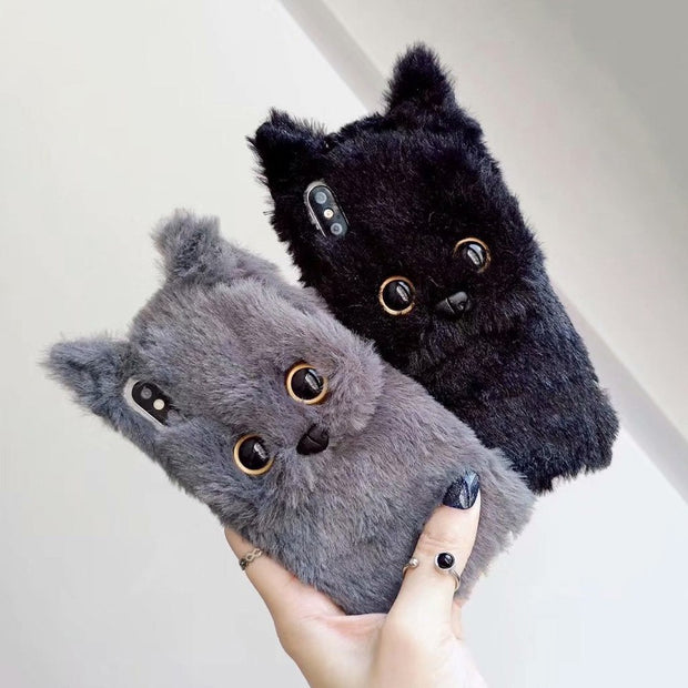 Luxury 3D Cat Plush Phone Case For IPhone X 7 8 Plus 6 6S Plus Winter Warm Soft Fur Cover For IPhone XS Max XR XS Cat Back Cases