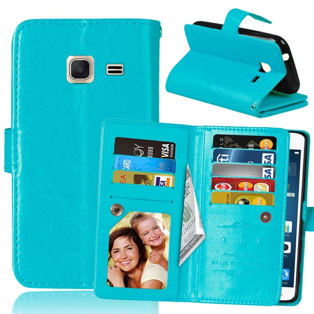 Luxury 9 Card Slots Wallet Phone Case For Samsung Galaxy J1 Mini J105 J1 2015 J100 2016 J120 Magnetic Flip Leather Cover Stand