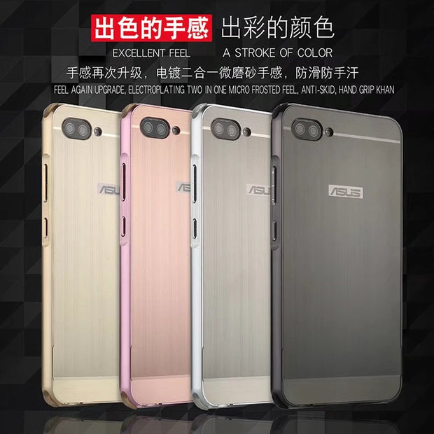 Luxury Aluminum Metal+PC Case For Asus ZenFone 4 Max ZC554KL Hard Mirror Effect Hybrid Armor Protect Back Cover For Asus ZC554KL