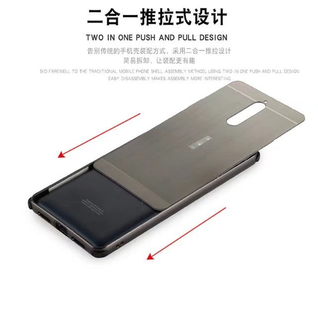 Luxury Aluminum Metal+PC Case For Nokia 8 Hard Mirror Effect Hybrid Coque Protective Back Cover For Nokia8 Full Cover Shell