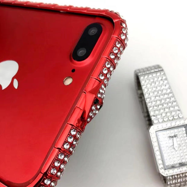 Luxury Bling Diamond Bumper For Iphone X 8 8Plus 7 7Plus 6S 6Plus Case Crystal Rhinestone Sanke Inlay Metal Frame Cover