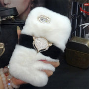 Luxury Bling Fox Head Warm Fluffy Soft Beaver Rabbit Fur Hair Phone Case For Iphone 6 6s 7 8 Plus X XR Xs Max Protective Case