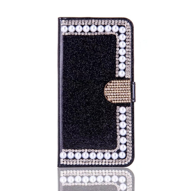 Luxury Bling Rhinestone Pearl Wallet Shiny Card Slot Wallet Flip Leather Cover Case For Samsung A3 A5 J3 J5 J7 2016/2017 Capa