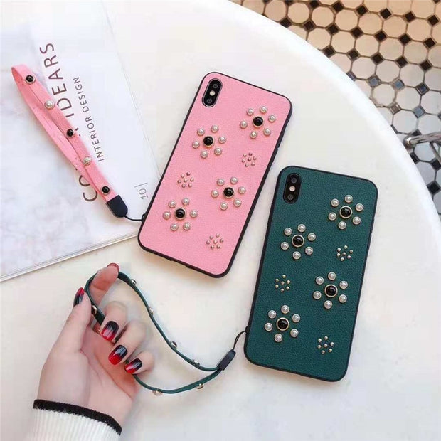 Luxury Brand Leather Case For Iphone 8 7 Plus 6 6S Plus X XS Max XR Back Cover Pink Rivet With Lanyard Phone Cases