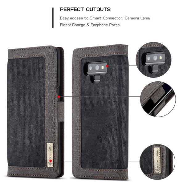 Luxury Canvas Flip Wallet Case For Samsung Note 9 8 Leather Multifunction Card Holder Photo Frame Cover For Galaxy S9 S8 Plus