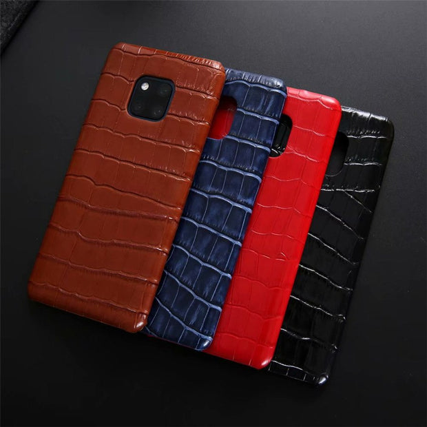 Luxury Crocodile Pattern Genuine Leather Phone Case For Huawei Mate 20 Pro Protective Hard Back Cover Coque For Huawei Mate 20 X