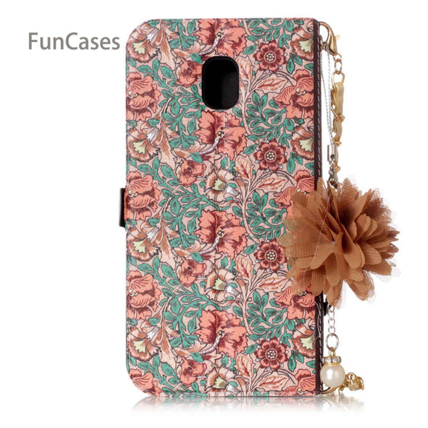 Luxury Daisy Case SFor Hoesjes Samsung J330 European Version PU Leather Bead Chain Cove Samsung Galaxy J3 2017 EU Version J3 Pro