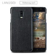 Luxury For Samsung Note5 Phone Case Real Calf Leather Back Cover / Litchi Texture Case Genuine Leather Phone Case