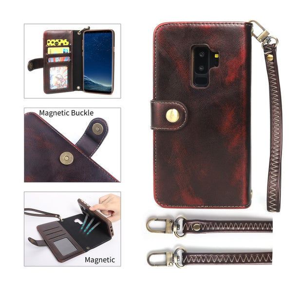 Luxury Genuine Leather Flip Wallet Phone Case For Samsung S9 Plus Card Holder Long Belt Shoulder Bag Cover For Galaxy S9 Plus