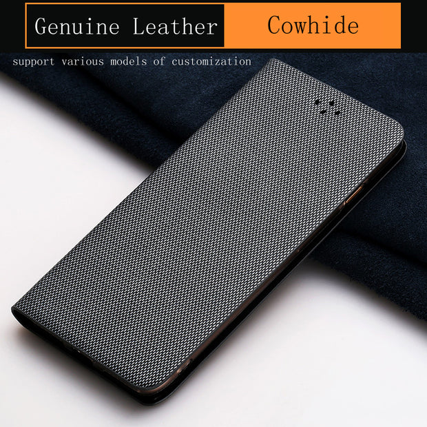 Luxury Genuine Leather Flip Case For HUAWEI Mate 10 Pro Case Diamond Pattern Soft Silicone Inner Shell Phone Flip Cover