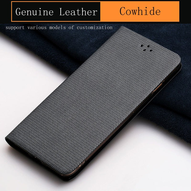 Luxury Genuine Leather Flip Case For Samsung A9 Case Diamond Pattern Soft Silicone Inner Shell Phone Flip Cover