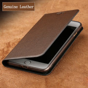 Luxury Genuine Leather Flip Case For IPhone 7 Case Diamond Pattern Soft Silicone Inner Shell Phone Flip Cover