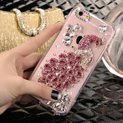 Luxury Glitter Diamond Peacock For Samsung S3 S4 S5 S6 S7 Edge S8 S9 Plus A3 A5 A7 A8 Plus A9 Crystal Soft TPU Mobile Phone Case