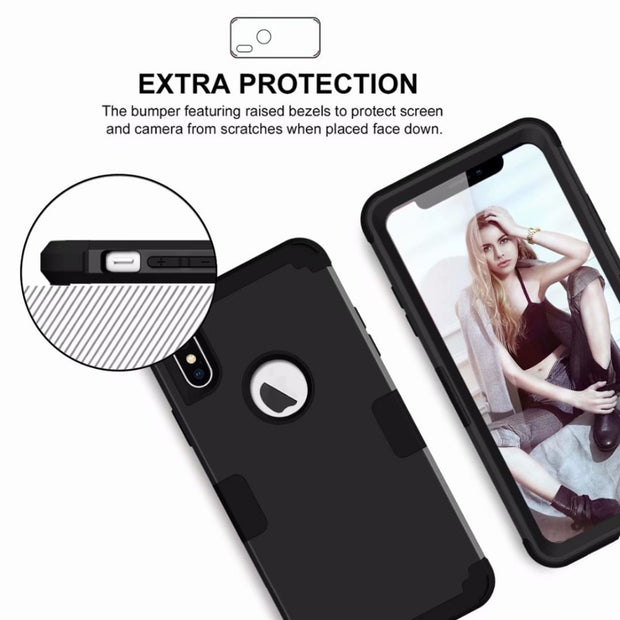 Luxury Heavy Duty Hybrid Sturdy Armor Defender High Impact Shockproof Protective Cover Case For IPhone XS MAX 6.5""