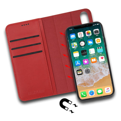 Luxury Italian Genuine Leather Wallet Case For Apple IPhone X XS Case Magnetic Adsorption Detachable 2 In 1 Card Slot Flip Cover