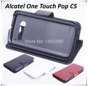 Luxury Leather Case For Alcatel One Touch Pop C5 Flip Cover Case With Card Slot OneTouch Pop C 5 Leather Cover Case Phone Cases