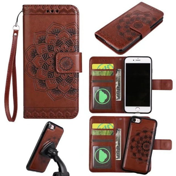 Luxury Leather Cover Card Holder Wallet Detachable Flip Phone Bags Cases Coque For IPhone 7 8 Plus 6 6s Plus 5 5s SE Cover Case