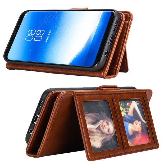 Luxury Leather Wallet Case For Samsung Galaxy S8 Plus S8plus Coque Magnetic 2 In 1 Stand Card Holder Flip Cover S8 + Etui Funda