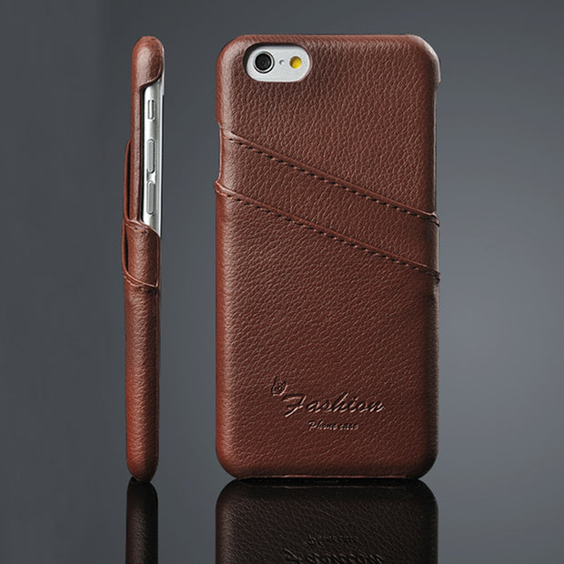 Luxury Litchi Genuine Leather Case For IPhone 5 5S SE 6 6S Plus 7 8 Plus X Xs Ultra Thin Back Cover Card Slot Fundas Celular