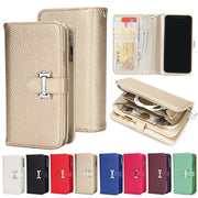 Luxury Magnetic Detachable 2 In 1 Flip Zip Wallet Litchi Leather Case Card Holder For Iphone X 8 7 6 6S Plus 5 For Samsung S9 S8