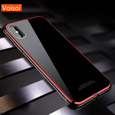 Luxury Original Tempered Glass Case For IPhone X 10 Xs Max XR Phone Cover Anti Knock Back Phone Cases For IPhone Xs XR Shell