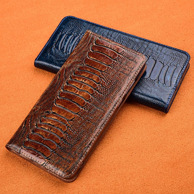 sneakers for cheap 9f38f fada2 Luxury Ostrich Foot Grain Stand Flip Case For SONY Xperia XA / XA Ultra  Cover Genuine Cowhide Leather Phone Case
