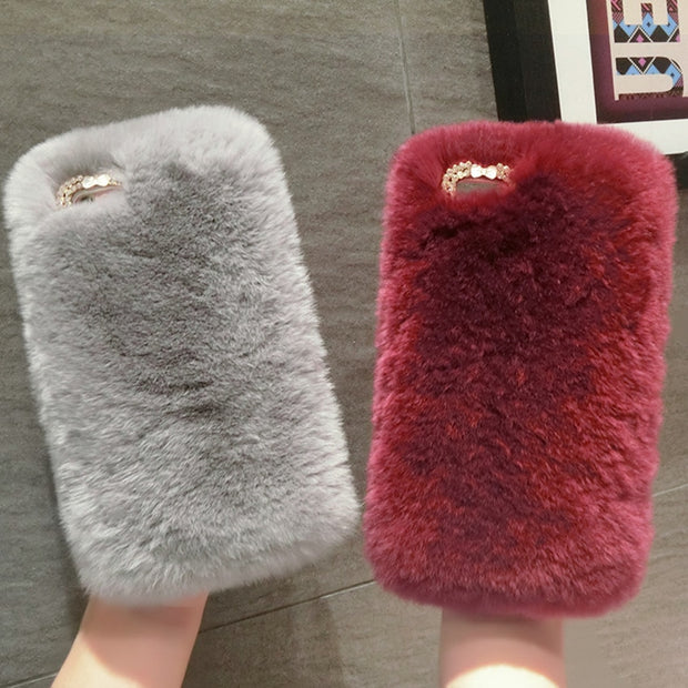 Luxury Real Rabbit Fur Case For Samsung S5 S6 S7 Edge S8 Plus Cover Crystal Phone Case For IPhone Xs Max 5s 6 6splus 7plus Cover