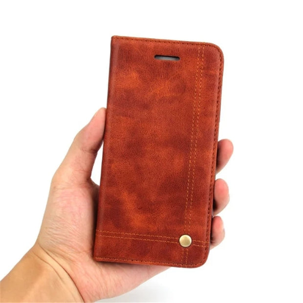 Luxury Retro Leather Flip Case For Apple IPhone 7 4.7 Inch Wallet Stand Cover For IPhone On 7 Silicone Bags With Card Holster