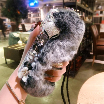 Luxury Rhinestone Warm Fluffy Rabbit Fur Bling Diamonds Pearl Jewelry Case Cover For IPhone X XS MAX XR 5S 6 6S PLUS 7 8 PLUS