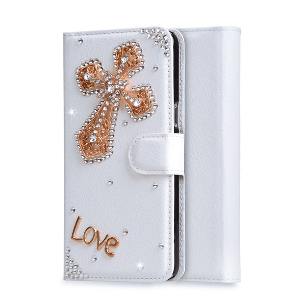 "Luxury Rhinestone Cases For Microsoft Nokia Lumia 640XL 640 XL 5.7"" Wallet PU Leather Cover Filp Stand Bling Diamond Phone Bags"