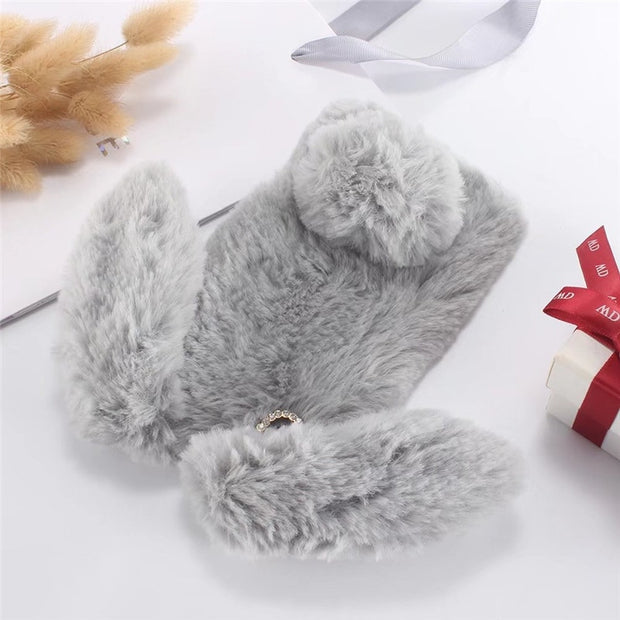 Luxury Shinning Rhinestone Diamond Cases For Sony Xperia L1 Case Cute Bunny Warm Rabbit Furry Fur Case For Sony Xperia L1 Fundas