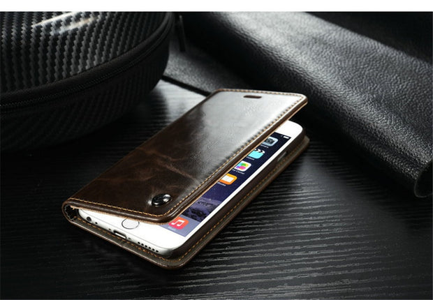 Luxury Superior PU Leather Phone Wallet Magnet Flip Case For IPhone 7 Case For Apple IPhone 6 6s Plus 7 Plus 5 5s SE Cases Cover