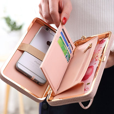 Luxury Women Pink Wallet Bag For IPhone 5 5s 6 6s 7 Plus Case PU Leather Case For Huawei Honor 8 Pro Oneplus 5 3 Redmi 3s Note 3