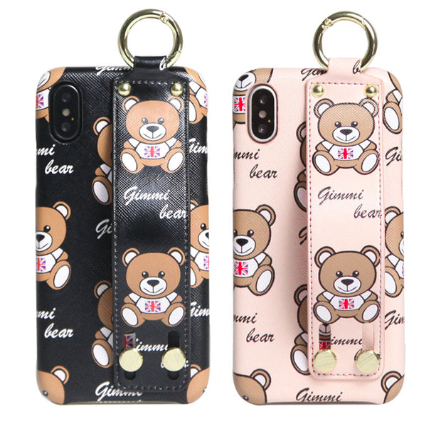 Luxury Brand 3D Bear Wrist Strap Pu Leather Phone Case For IPhone XS MAX XR 7 8 Plus 6 6s Plus X New Fashion Cartoon Back Cover